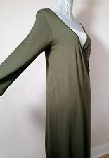 George Maternity Women's Long Sleeve Khaki Green Nursing Dress ~ UK Size 12