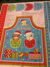 Kitty Christmas Cats Apron Cotton Quilting Panel Fabric - Nutex