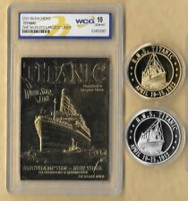 RMS TITANIC APRIL 10-15, 1912 23 KT GRADED CARD GOLD & SILVER  COINS