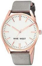 Nine West Womens Rose Gold-Tone and Grey Strap Watch