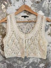 womens Waistcoat 10/12 Ivory Linen Crochet Bolero Shrug Boho Summer Classic Vg