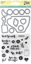 Latte Love Coffee Tea Sayings Clear Stamp & Die Set by Jillibean Soup jb1325 NEW