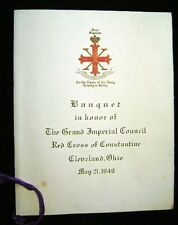 1949 MENU HOTEL CLEVELAND OHIO BANQUET RED CROSS OF CONSTANTINE IMPERIAL COUNCIL