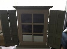 Vintage Sage Green Window Mirror Shutter Wall Hanging By Home Interiors