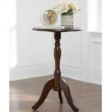 Small End Table Round Pedestal Side Accent Furniture Aged Cherry Finish Decor