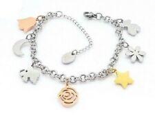New Stainless Steel Cross Multi-color Jade Shell Pearl Bears Bracelet Bangle