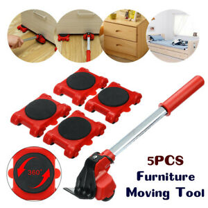 5Pcs Furniture Lifter kit Lifting Moving Slider Mover Transport Set Tool Removal