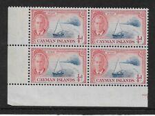 1950 Cayman Islands - Catboat - Plate Block - Unmounted Mint.