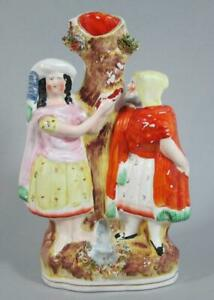 TRANSVESTITE GAY DRAG ANTIQUE STAFFORDSHIRE POTTERY FIGURE MAN DRESSED AS LADY