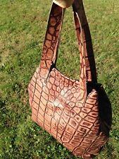 Kisim 'Basic' Long Croc-pattern Brown Embossed Leather Shoulder Bag