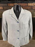 Vintage Pendleton Plaid Pastel Blazer Jacket 100% Virgin Wool Women's Size 8