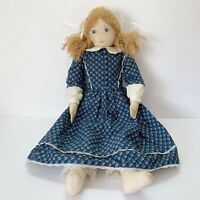 "Vintage Primitive Style Handmade 23"" Signed Rag Doll Cloth Painted Face"