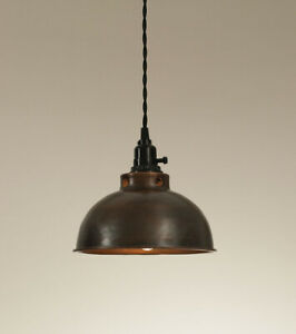 Dome Hanging small Pendant Light - Aged Copper
