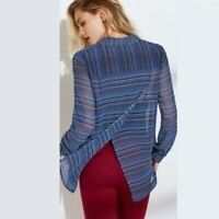 CABI 3330 Alex Split Back Button Front Blouse Top Shirt Striped Women's size S