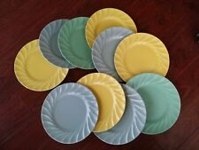 10 RARE   ART DECO  METLOX YORKSHIRE DINNER PLATES TURQUOISE BLUE GREEN YELLOW