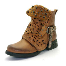 Womens Ladies Size Studded Ankle Boots Buckle Western Biker Strappy Flat Shoes