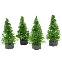 Set/4 Mini Glitter Pine Christmas Tree Green Fairy Garden Holiday Home Decor