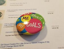 Girl Scout Cookie Pin Button Gold Award Pin Ask Me About My Goals Used