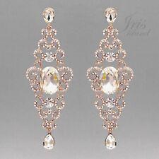 ROSE GOLD Plated Crystal Rhinestone Bridal Wedding Drop Dangle Earrings 014 Gift
