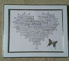 Personalised 10x8 Love Heart Word Art. Framed. Birthday. Family Tree. Gift