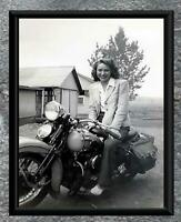 Classic... Women on 1940's Harley Davidson Motorcycle . Vintage Photo Print