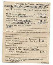 WWII Officer's Pay Data Card for Correspondent 2nd Lt Marvin Sorkin