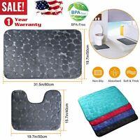 2PC BATHROOM SET RUG CONTOUR MAT TOILET NON-SLIP PLAIN SOLID COLOR BATHMATS