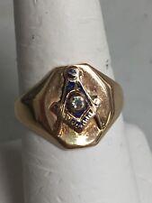 MEN'S 10K YELLOW GOLD  MASONIC / FREEMASON  DIAMOND RING