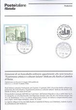 ITALIA 2007 BASILICA CATTEDRALE PARMA  BOLLETTINO COMPLETO DI FRANCOBOLLI FDC
