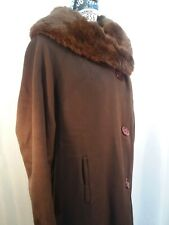 Vintage Wool Blend Coat with Rabbit Fur Collar