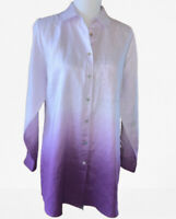 Soft Surroundings Ombre 100% Linen Hi-low Button Down Shirt Sz Medium ($129.00)
