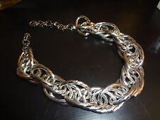 UNUSUAL VINTAGE SILVERTONE TWISTED NECKLACE STUNNING ON A TURTLENECK SWEATER