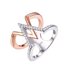 Rose Gold V Shape Engagement Wedding Band Ring White Cz 925 Sterling Silver Sz 5