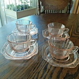 4 Indiana Recollections MADRID Pink Depression Glass Cups & Saucers Sets