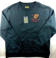NWT NEW Lucky Brand Men's Black California Bear Paradise Embroidered Sweatshirt