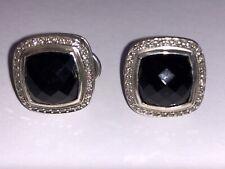 David Yurman 925 Sterling Silver Diamond 11mm Black Orchid Albion Earrings