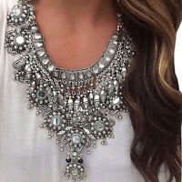 Vintage Silver Flower Long Boho Bib Statement Necklace Trendy Chunky Jewelry HOT
