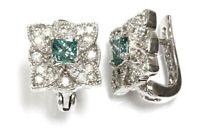 """1.2 ctw Natural Blue & White Diamond Solid 14k White Gold Flower Earrings, 0.5"""""""