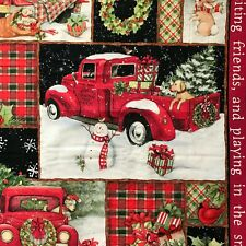 Fabric Panel Red Truck Collage and Snowman 36