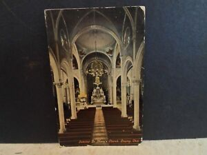 Dayton Oh Ohio, Interior St Mary's Church,   early postcard