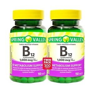 Spring Valley Vitamin B12 Timed Release 1000 mcg 150 Tablets Each, 2PK Exp 2023