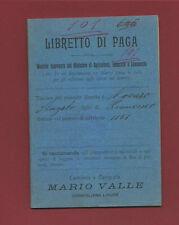 Libretto di Paga Modello Ministro Agricoltura Industria Dip. Sestri Levante 1904