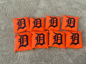 DETROIT TIGERS CORNHOLE BEAN BAGS SET OF 8 TOP QUALITY TOSS GAME
