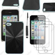 Housse Coque Rigide style chrome Noir Apple iPhone 4S 4+Mini Stylet+3 Films