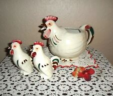 VINTAGE 3 PC SHAWNEE USA POTTERY ROOSTER WATER  PITCHER & SALT & PEPPER S & P