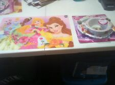 "NEW DISNEY PRINCESS FEEDING SET PLATE,BOWL,FORK,SPOON AND PLACE MAT 12"" X 18"" **"