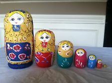 russian nesting doll Set Of 7 Hand made 7 inch tall multi color Us Seller