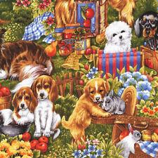 Fat Quarter Furry Friends Dogs Cotton Quilting Fabric  Fabri Quilt
