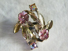 Beautiful Brooch Pin Light Gold Tone Pink Enamel AB Rhinestones Flowers CUTE