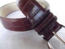 vtg Brighton classic belt brn leather faux croc sz 30 40087 silver brass buckle